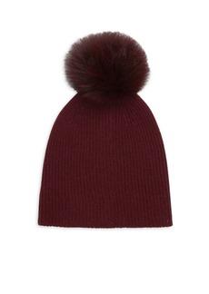 Saks Fifth Avenue Knit Cashmere & Fox Fur Pom-Pom Hat
