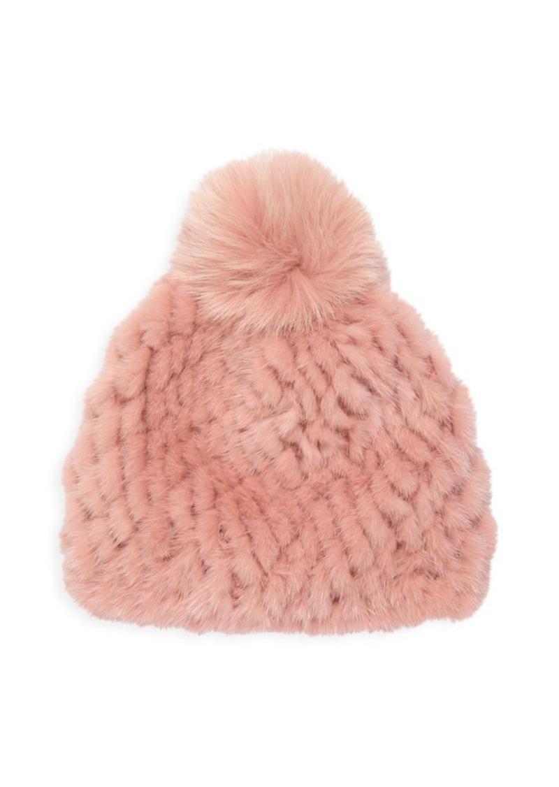 Saks Fifth Avenue Knit Mink Fur & Fox Fur Pom-Pom Beanie