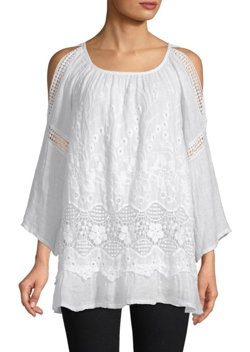 Saks Fifth Avenue Layered Lace Cold-Shoulder Top