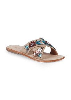 Saks Fifth Avenue Leather Crisscross Slides