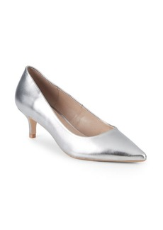 Saks Fifth Avenue Leather Kitten Heel Pumps