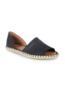Leather Peep-Toe D'Orsay Espadrilles