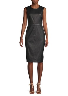 Saks Fifth Avenue Leather Sheath Dress