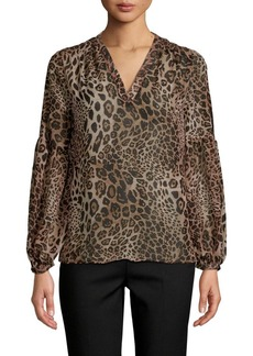 Saks Fifth Avenue Leopard Balloon-Sleeve Blouse