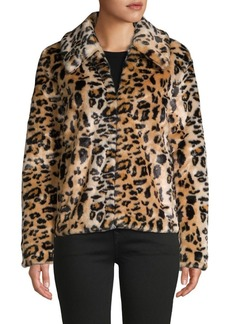 Saks Fifth Avenue Leopard Faux Fur Jacket