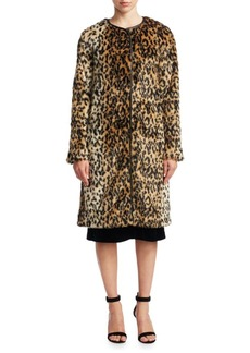 Saks Fifth Avenue Leopard Print Faux Fur Jacket