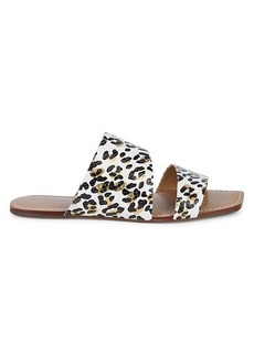 Saks Fifth Avenue Leopard-Print Leather Slides