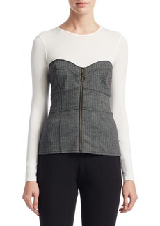 Saks Fifth Avenue Long Sleeve Faux Corset Top