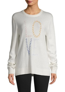 Saks Fifth Avenue Love Embroidered Sweater