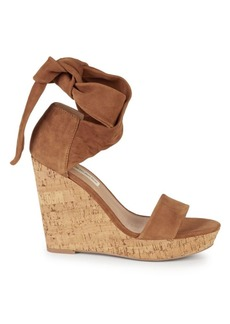 Saks Fifth Avenue Mckennaopen Suede Tie Wedge Sandals