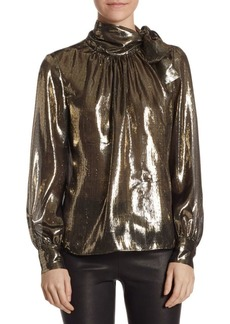 Saks Fifth Avenue Metallic Silk-Blend Neck-Tie Blouse