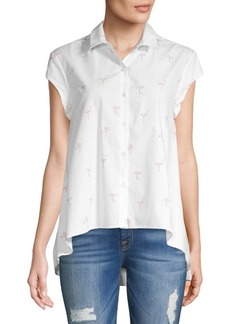 Saks Fifth Avenue Miranda Cap-Sleeve Flamingo Cotton Top