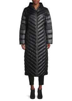 Saks Fifth Avenue Long Chevron-Quilted Down Puffer Coat