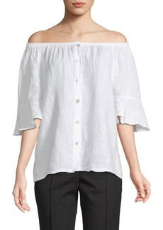 Saks Fifth Avenue Off-The-Shoulder Linen Top