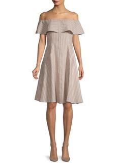Saks Fifth Avenue Off-The-Shoulder Pinstripe Fit-&-Flare Dress