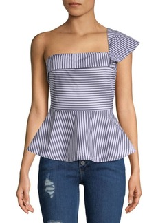 Saks Fifth Avenue One-Shoulder Cotton Peplum Top