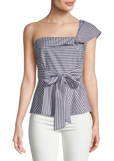 Saks Fifth Avenue One-Shoulder Striped Cotton Blouse