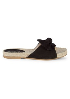 Saks Fifth Avenue Peru Suede Twist Bow Espadrille Slides
