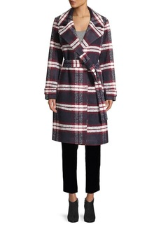 Saks Fifth Avenue Plaid Belted Trench Coat
