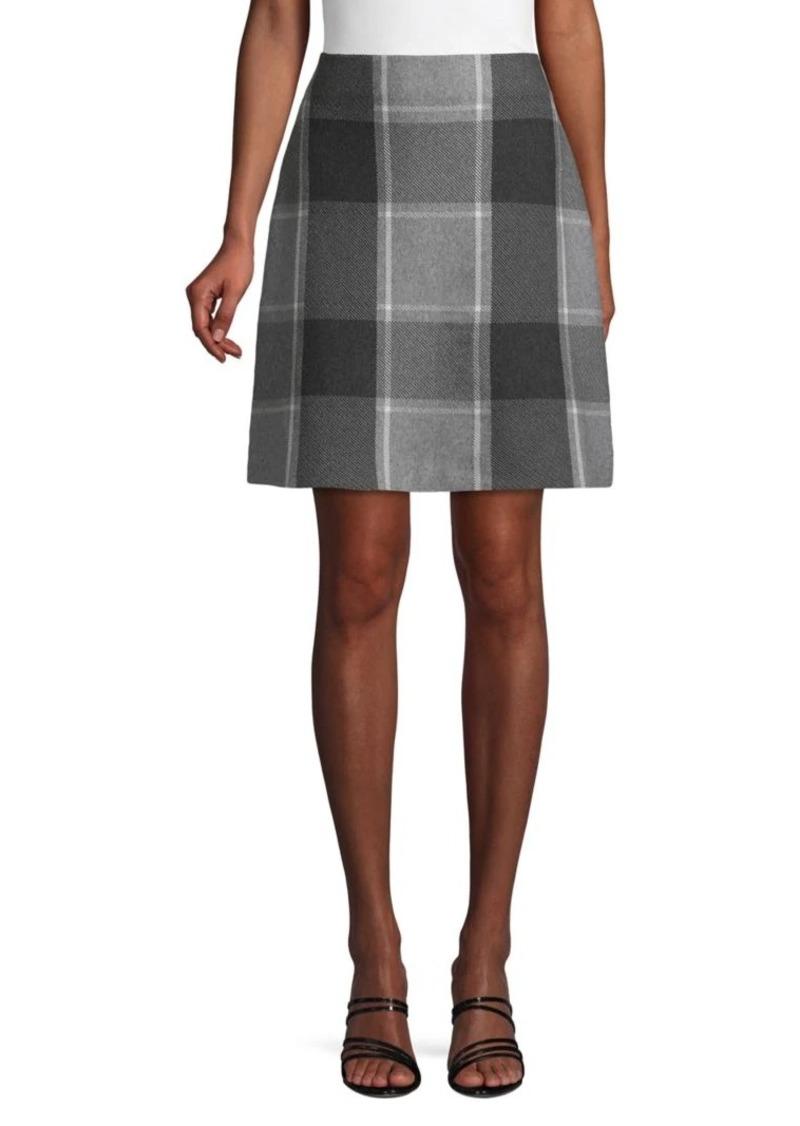 Saks Fifth Avenue Plaid Cotton A-Line Skirt
