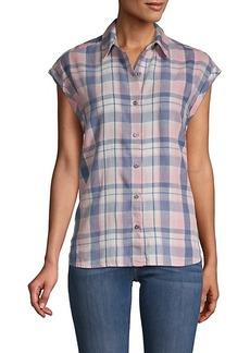 Saks Fifth Avenue Plaid Short-Sleeve Shirt
