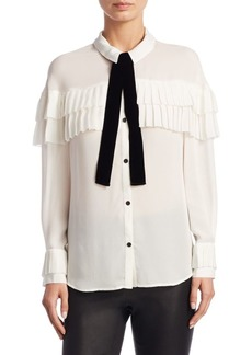 Saks Fifth Avenue Pleated Ruffle Silk Blouse