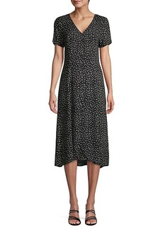 Saks Fifth Avenue Printed High-Low Button-Front Dress