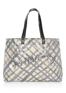 Saks Fifth Avenue PVC Grid Pattern Logo Shopper
