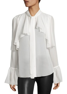 Saks Fifth Avenue Ruffle Detail Silk Blouse
