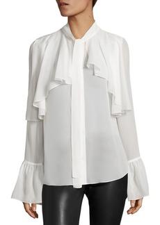 Saks Fifth Avenue Ruffle Detail Silk Blouse
