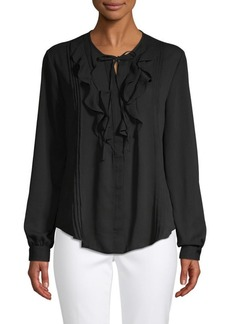 Saks Fifth Avenue Ruffle Front Split Neck Blouse