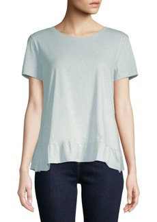 Saks Fifth Avenue Ruffle Hem Short-Sleeve Cotton Top