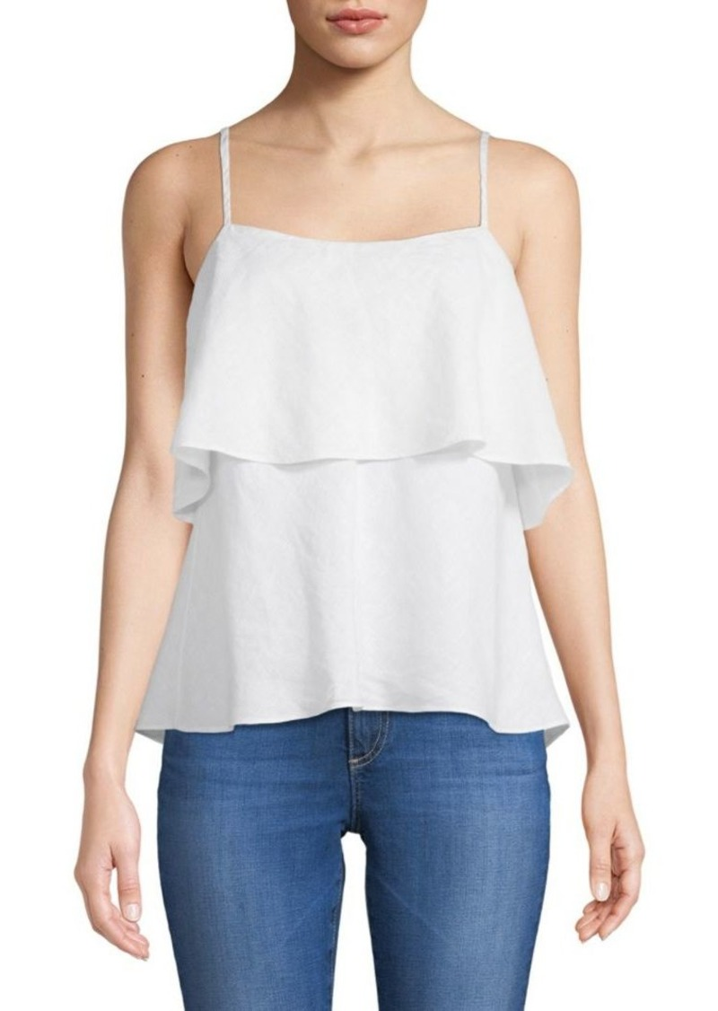 Saks Fifth Avenue Ruffle Linen Tank Top