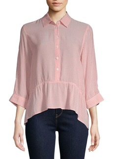 Saks Fifth Avenue Ruffle Stripe Shirt