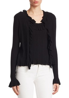 Saks Fifth Avenue Ruffle-Trim Ribbed Top