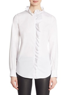 Saks Fifth Avenue Ruffle-Trimmed Long-Sleeve Top