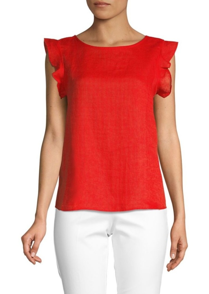 Saks Fifth Avenue Ruffled Linen Sleeveless Top