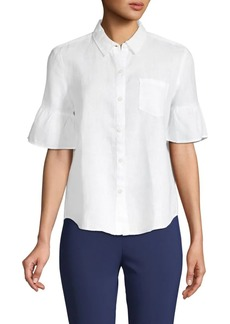Saks Fifth Avenue Ruffled-Sleeve Linen Button-Down Shirt