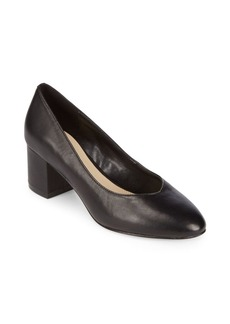 Saks Fifth Avenue Amaya Block Heel Leather Pumps