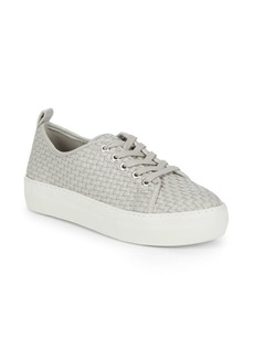 Basket-Weave Leather Platform Sneakers