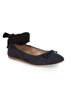 Saks Fifth Avenue Beau Denim Ankle-Strap Ballet Flats