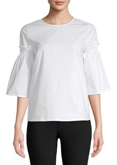 Saks Fifth Avenue Bell-Sleeve Poplin Blouse