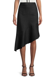Saks Fifth Avenue BLACK Asymmetrical Linen Skirt