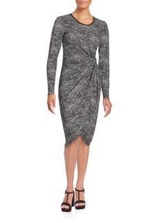 Saks Fifth Avenue BLACK Asymmetrical Patterned Dress