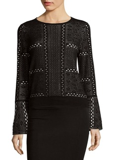Saks Fifth Avenue BLACK Bell Sleeve Pullover Top
