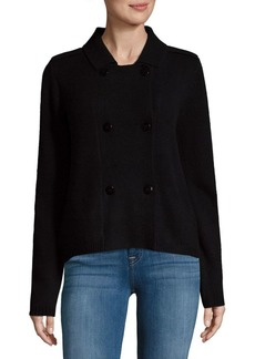 Saks Fifth Avenue BLACK Button Up Motorcycle Sweater