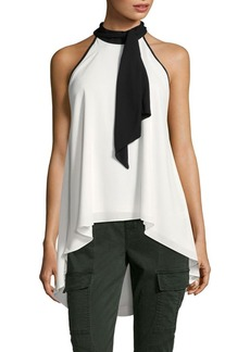 Saks Fifth Avenue BLACK Colorblock Ruffled Tank Top