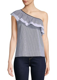 Saks Fifth Avenue Black Cotton-Blend Striped One-Shoulder Top