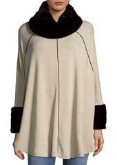 Saks Fifth Avenue BLACK Faux Fur Collar Poncho
