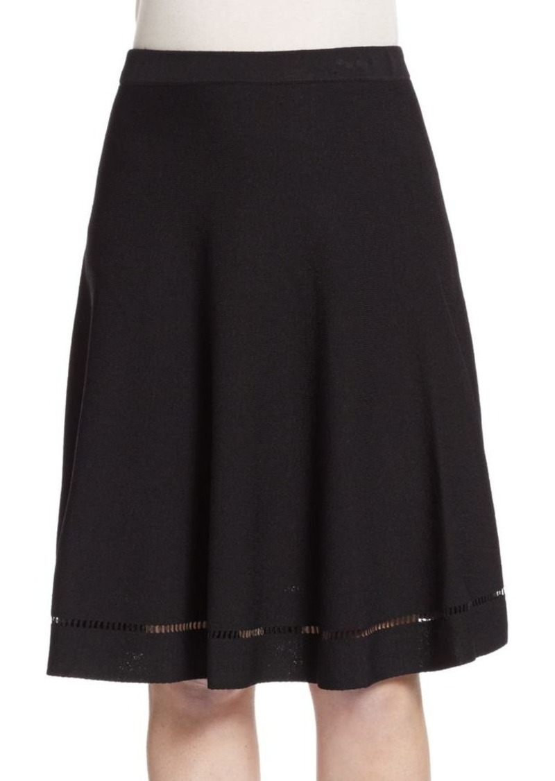 Saks Fifth Avenue BLACK Flared Knit Skirt